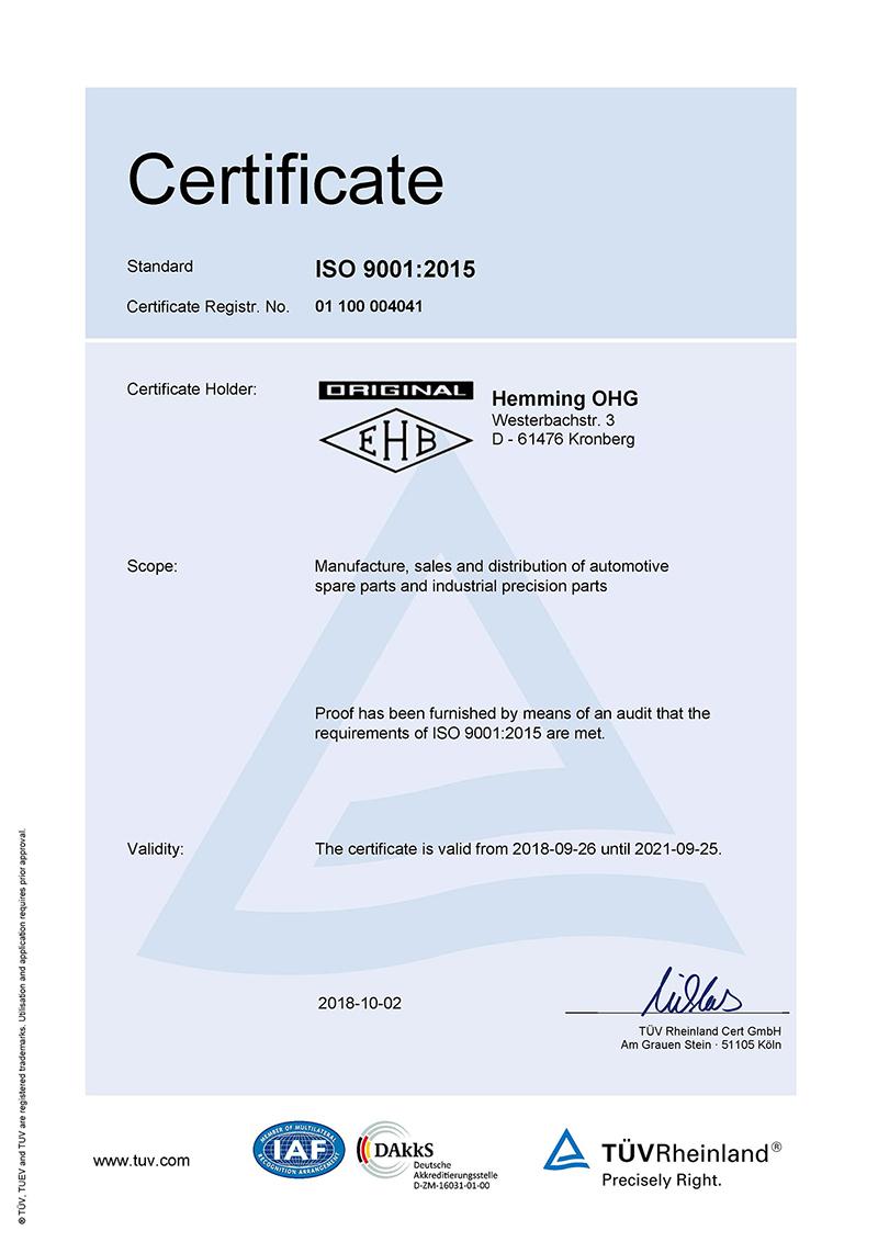 Zertifikat EN ISO 9001:2015
